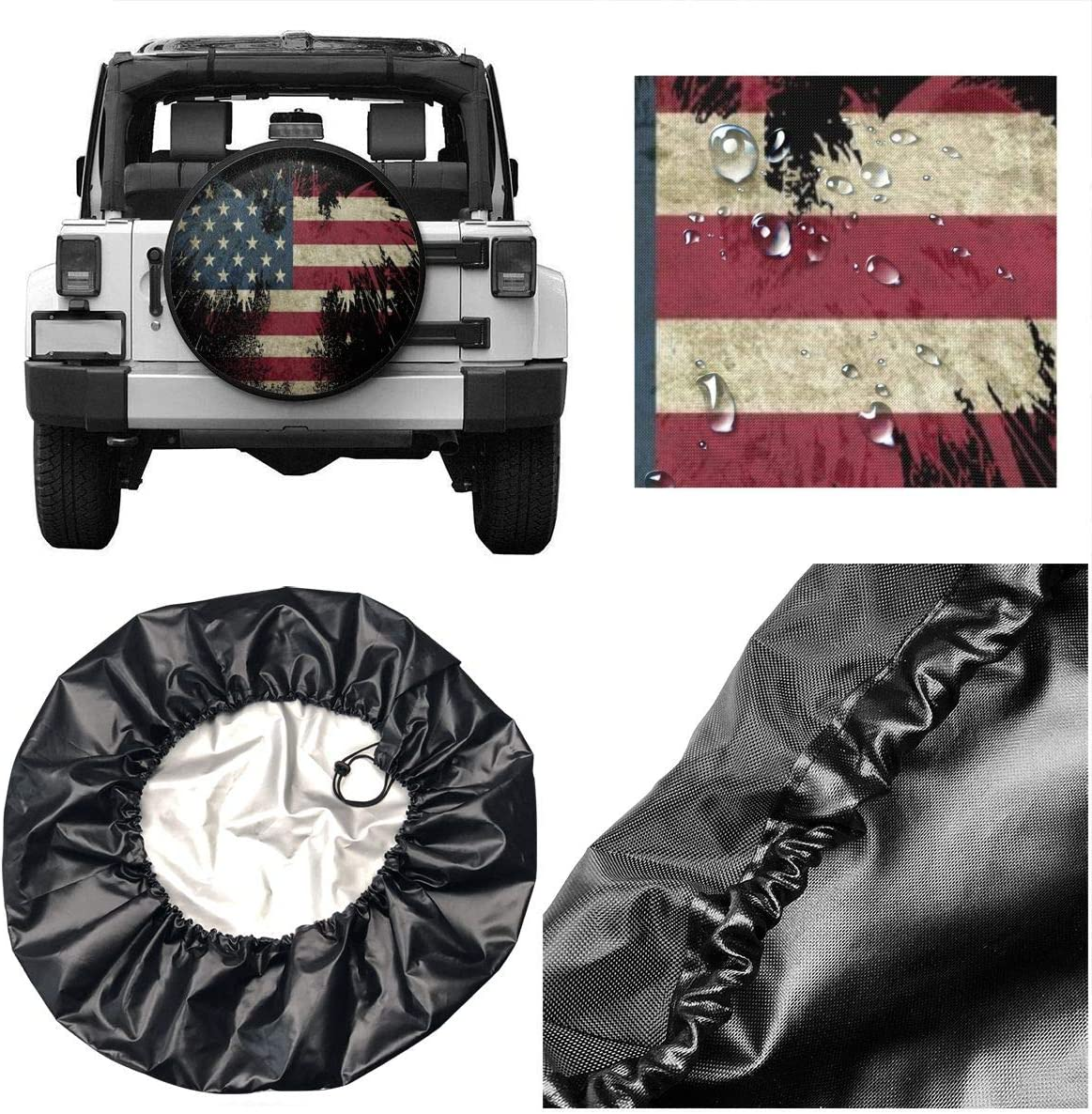 SUV and Many Vehicle 14, 15, 16, 17 Inch Foruidea USA Flag On Abstract Flower Spare Tire Cover Waterproof Dust-Proof UV Sun Wheel Tire Cover Fit for Jeep,Trailer RV