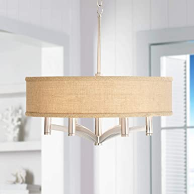 Woven Burlap Ava 6-Light Nickel Pendant Chandelier – Possini Euro Design