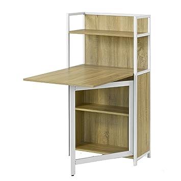 Sobuy Wand Klapptisch Küche Esszimmer Massiv Holz Tisch Schreibtisch Integrierter Regal Mit Memoboard Fwt08 W Modern Beige