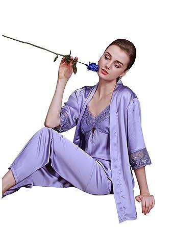 Amazon.com: SheSmile Women Sexy Silk Pijamas Lingerie Satin Lace Summer 3-piece Sleepwear: Clothing