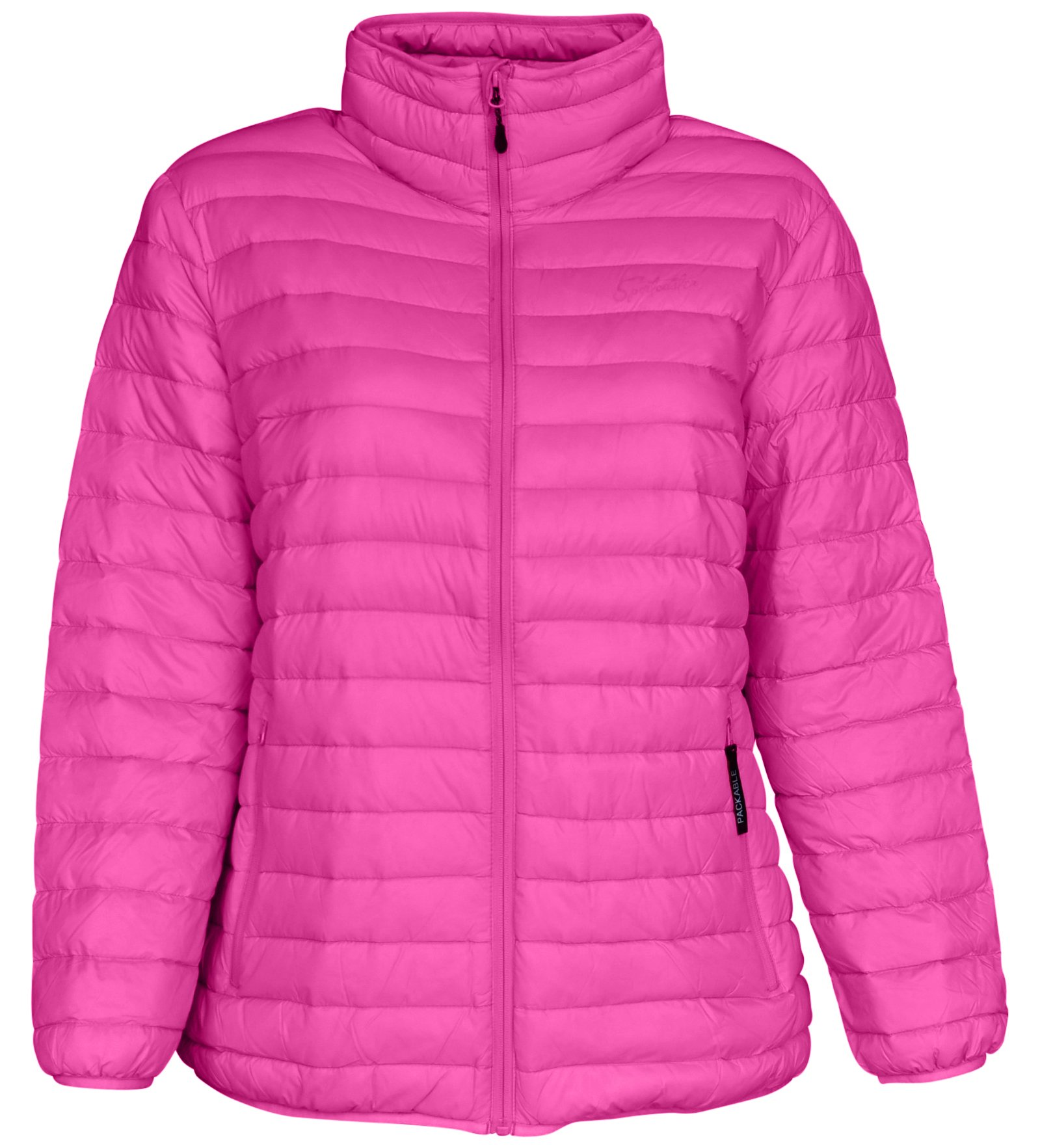 Sportcaster Women's Plus Size Packable Down Jacket (3X, Bubble Gum Pink)