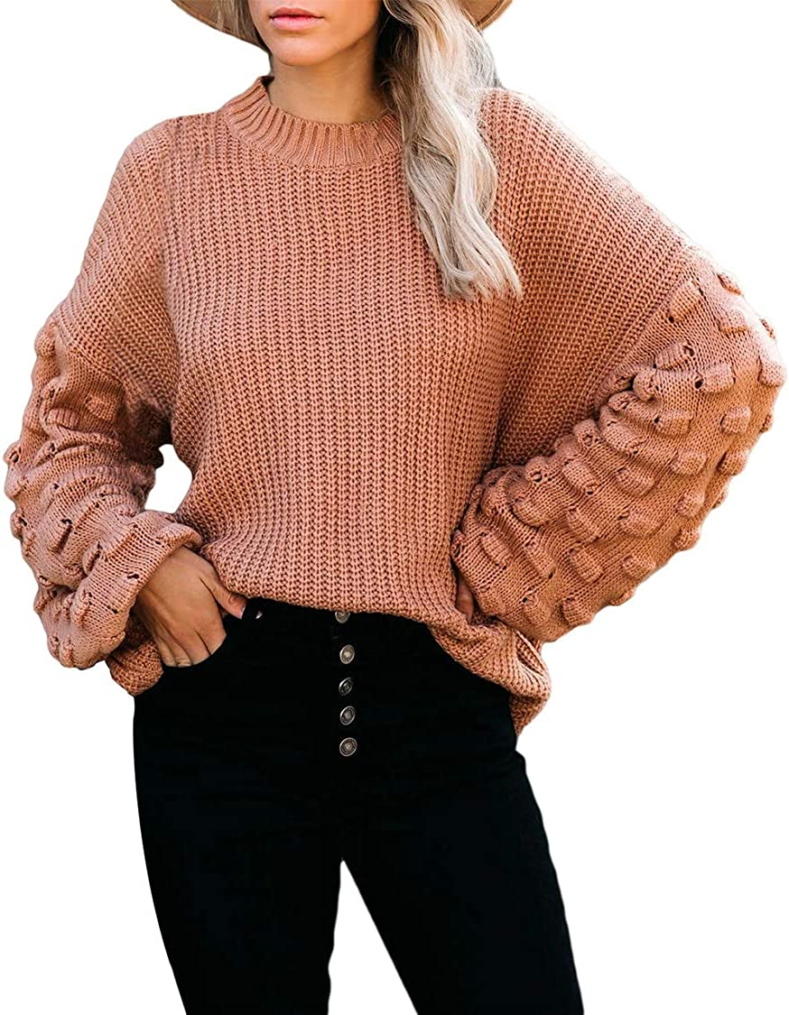 Kisscynest Womens Casual Oversized Pullover Sweater Cute Long Sleeve Crew Neck Tops Loose Fitting