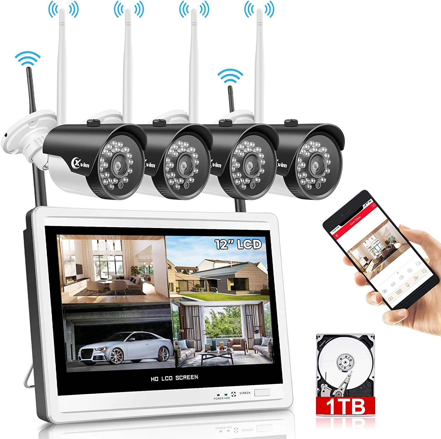 XVIM 12 Monitor Wireless Security Camera System for Home, 4pcs 2.0MP Outdoor Waterproof IP Cameras, 4 Channel HD 1080P WiFi Video Surveillance Cameras NVR Kits,Easy Remote View