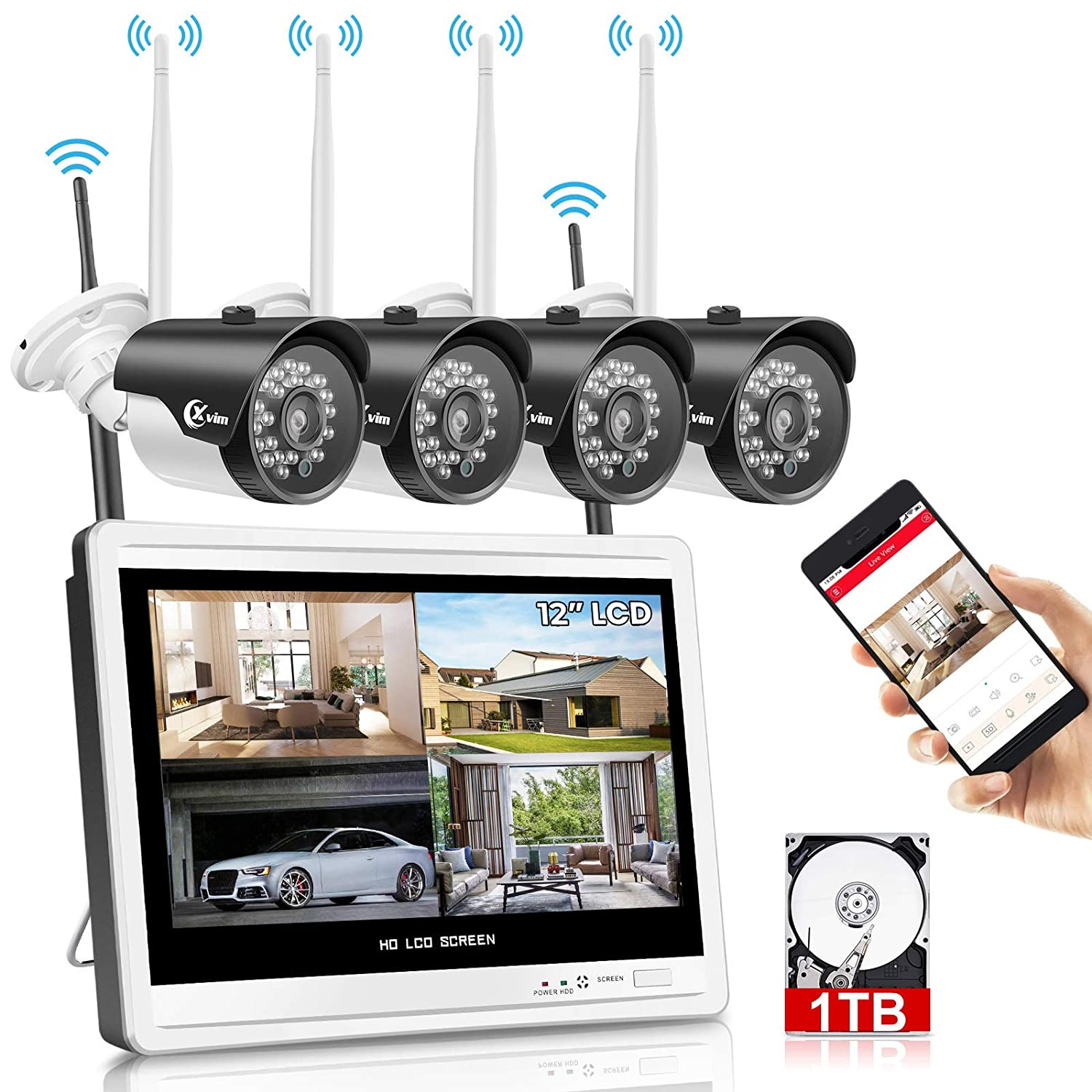 """XVIM 12"""" Monitor Wireless Security Camera System for Home, 4pcs 2.0MP Outdoor Waterproof IP Cameras, 4 Channel HD 1080P WiFi Video Surveillance Cameras NVR Kits,Easy Remote View"""