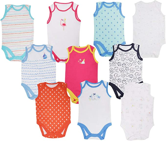 BABY BOYS GIRLS 5 PACK BODYSUITS EX UK STORE COTTON VESTS 0-24M LONG SLEEVE NEW