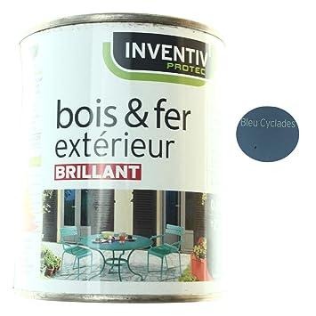 Peinture Brillante Bois Fer Extérieur Bleu Cyclades 25cl Amazon