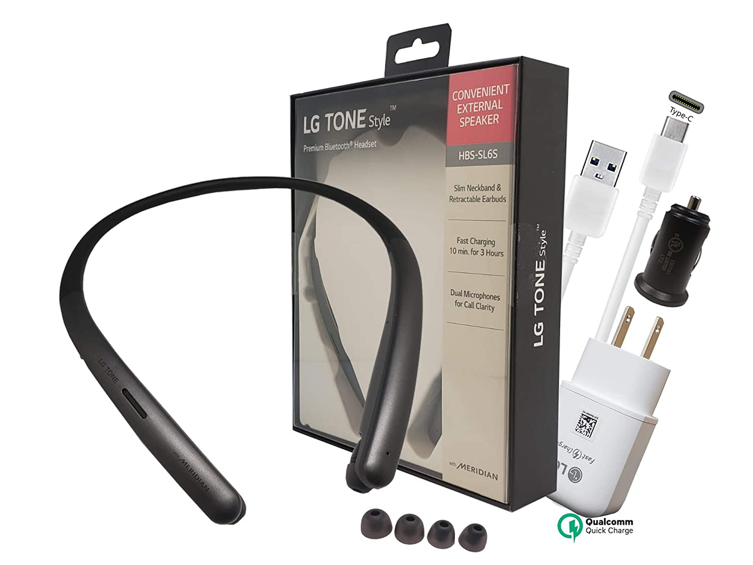 LG Tone Style Sl6S Bluetooth Wireless Stereo Headset HBS-SL6S- Hi-Fi Sound with Car/3.0 Fast Wall Charger 3.0 C Type USB (Retail Packing Kit)