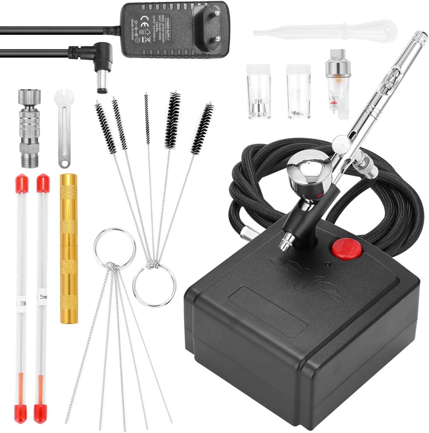 Festnight Juego de aerógrafo profesional para modelismo, pintura artística con compresor de aire + adaptador de corriente + aerógrafo + soporte para aerógrafo + aguja de 0,3 mm + aguja de 0,5 mm