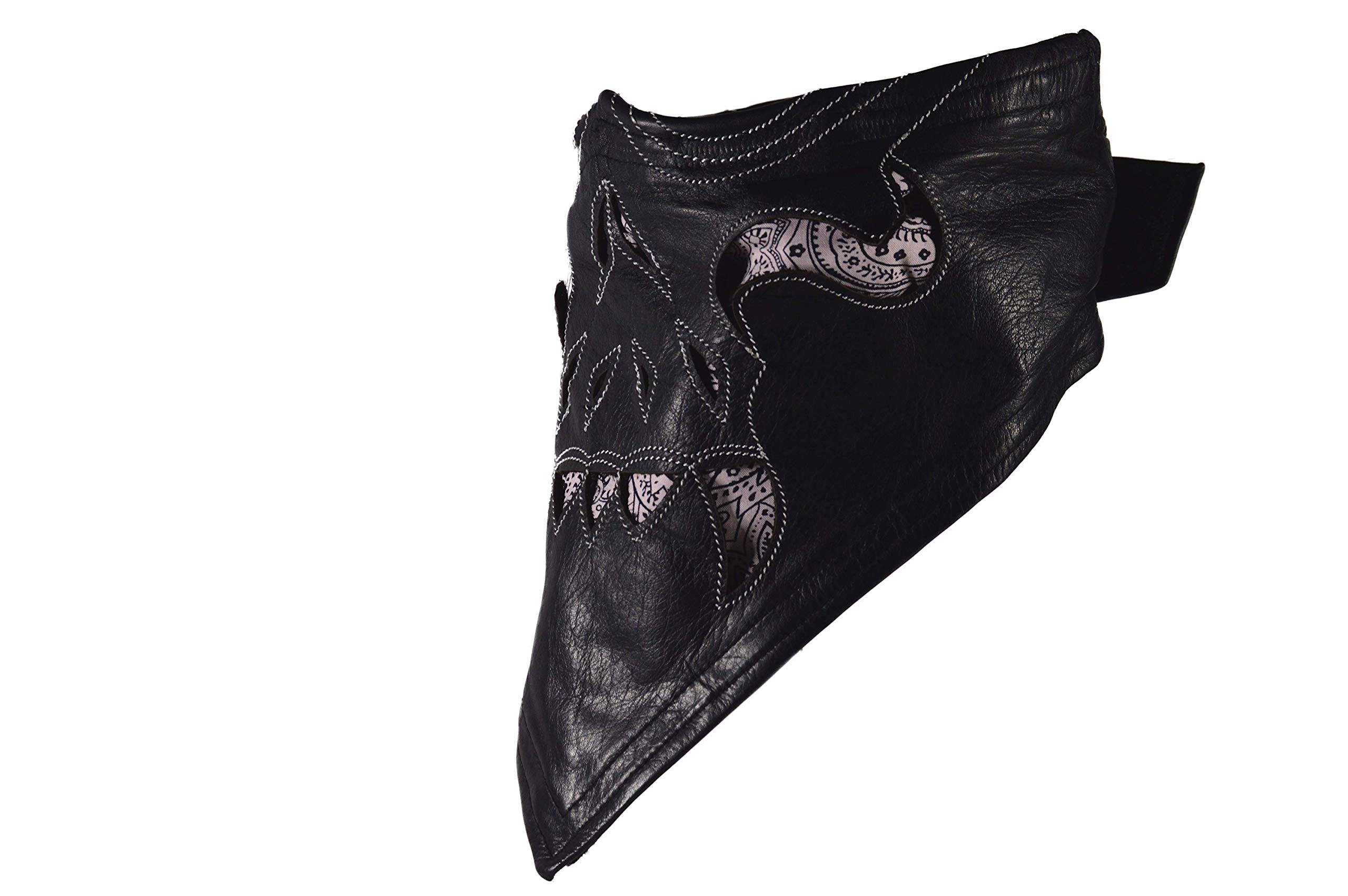 Leather Face Motorcycle Mask Leather Half Face Mask Skull Mask with Fangs (White)