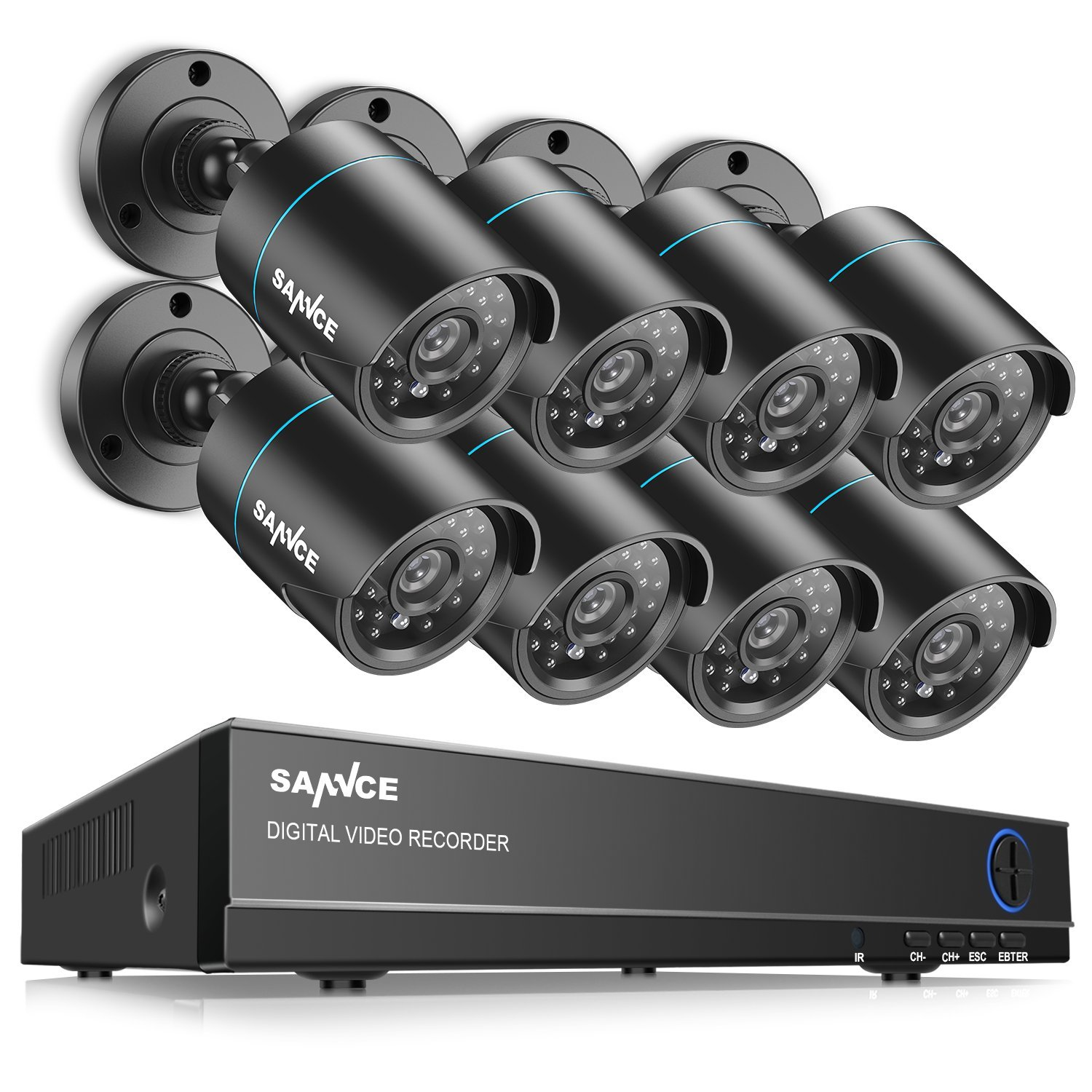SANNCE 8CH Full 1080N Security Camera System CCTV DVR and (8) 720P Night Vision Surveillance Cameras, IP66 Weatherproof, QR Code Scan and Remote Access -No HDD