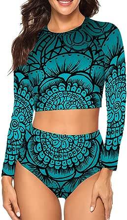 Blue Mandala Green Flower Swimsuit Women's Long Sleeves Bikini Set UV Rays Protect Swimwear-