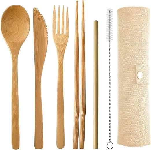 Picnic Eco-Friendly Plastic School Flatware Portable Tableware Set Wheat Straw