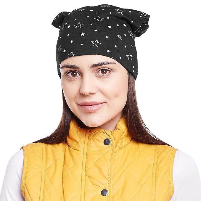 Vimal Black Star Printed Cotton Beanie Cap For Women  Amazon.in  Clothing    Accessories e662cbf7e216