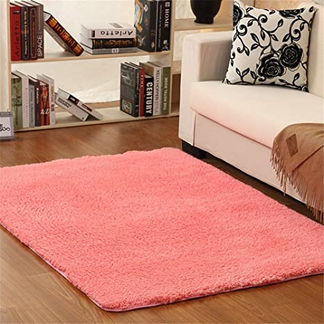 Amazon.com: Hoomy Pink Floor Rugs Shaggy Living Room Floor Mats ...