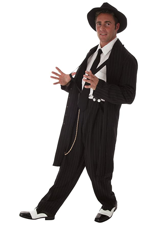 1940s Men's Costumes: WW2, Sailor, Zoot Suits, Gangsters, Detective Black Zoot Suit Costume $60.49 AT vintagedancer.com