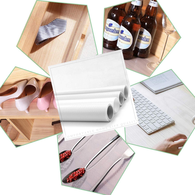 Antibacterianas Mat Impermeable Estera del Refrigerador Blanco Estantes el Gabinete Estera Cuttable Forro de Caj/ón Reutilizable TATAFUN Protector Antideslizante Cocina 3 Rollos