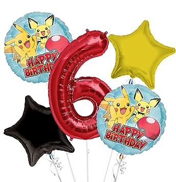 Amazon.com: Pokemon Pikachu feliz cumpleaños ramo de globos ...
