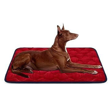 Hero Dog Cama Colchoneta Perro Grande Lavable, Cojines para Mascotas Antideslizante Vellón Almohadilla Suave 107x70 cm (Rojo L)