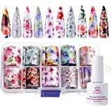 Makartt Nail Art Foil Glue Gel with Starry Sky Star Foil Stickers Set Nail Transfer Tips Manicure Art DIY 8ML, 10PCS (2.5cm100cm) Stickers, UV LED Lamp Required P-72