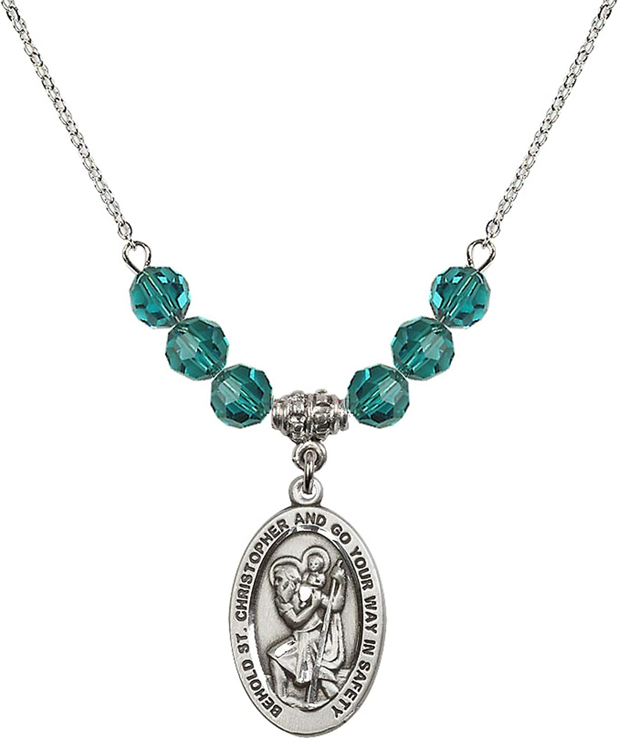 Bonyak Jewelry 18 Inch Rhodium Plated Necklace w// 6mm Blue December Birth Month Stone Beads and Saint Christopher Charm
