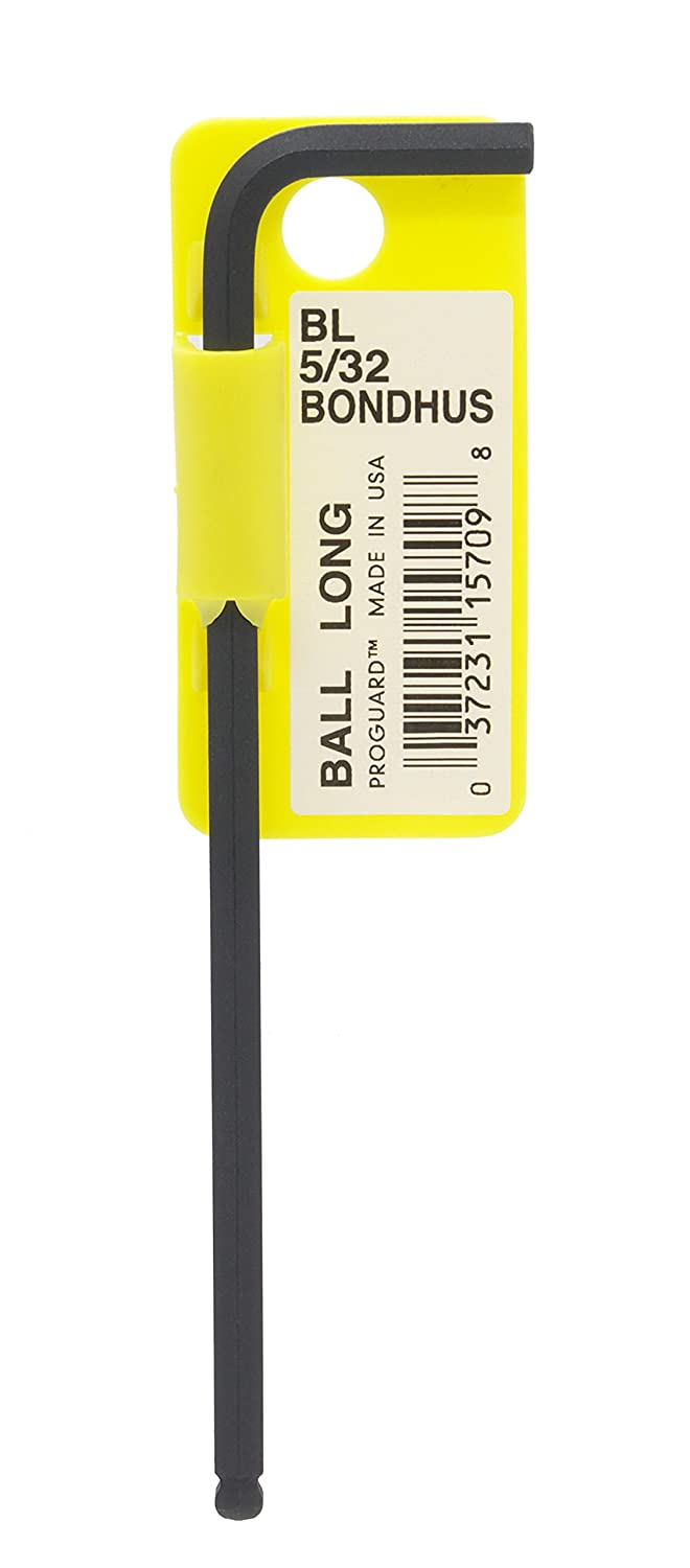 "Bondhus 15709 5/32"" Ball End Tip Hex Key L-Wrench w/ProGuard Finish, Long Arm"