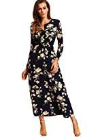 Milumia Women's Boho Long Sleeve Floral Print Beach Party Maxi Dress