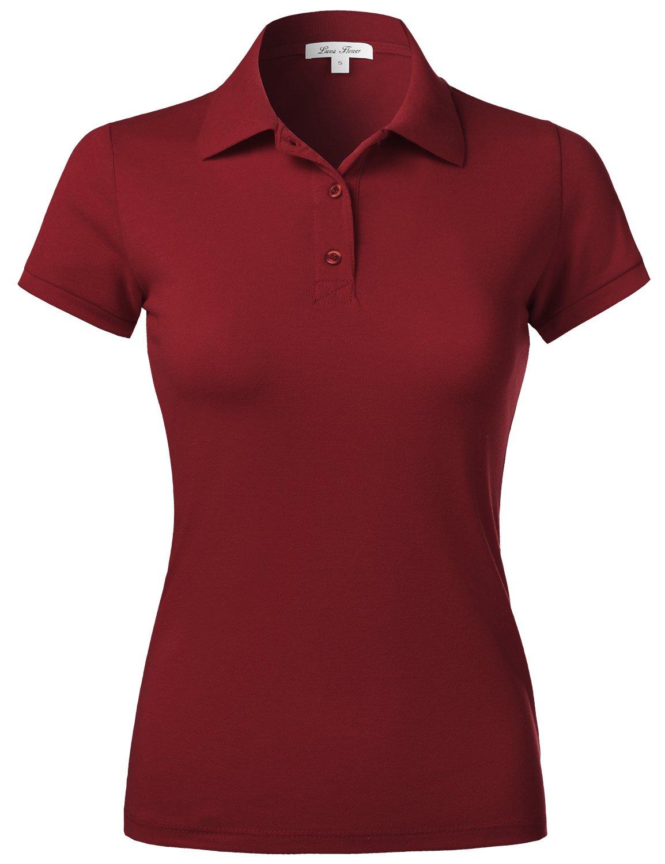 Luna Flower Women's Short Sleeve Pique Polo Shirts Burgundy Medium (GTEW103)