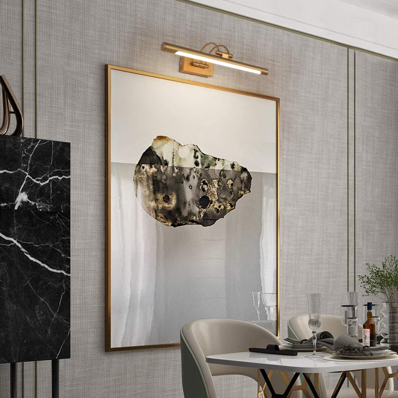 MantoLite Wandleuchte Bild Licht,Modern Badezimmer Lampe Nachttisch Leseleuchte Spiegel Leuchte Artwork Beleuchtung Fixture Mit Schalter Ziehen Matte Nickel Aluminium IP44 11W 40CM 3000K