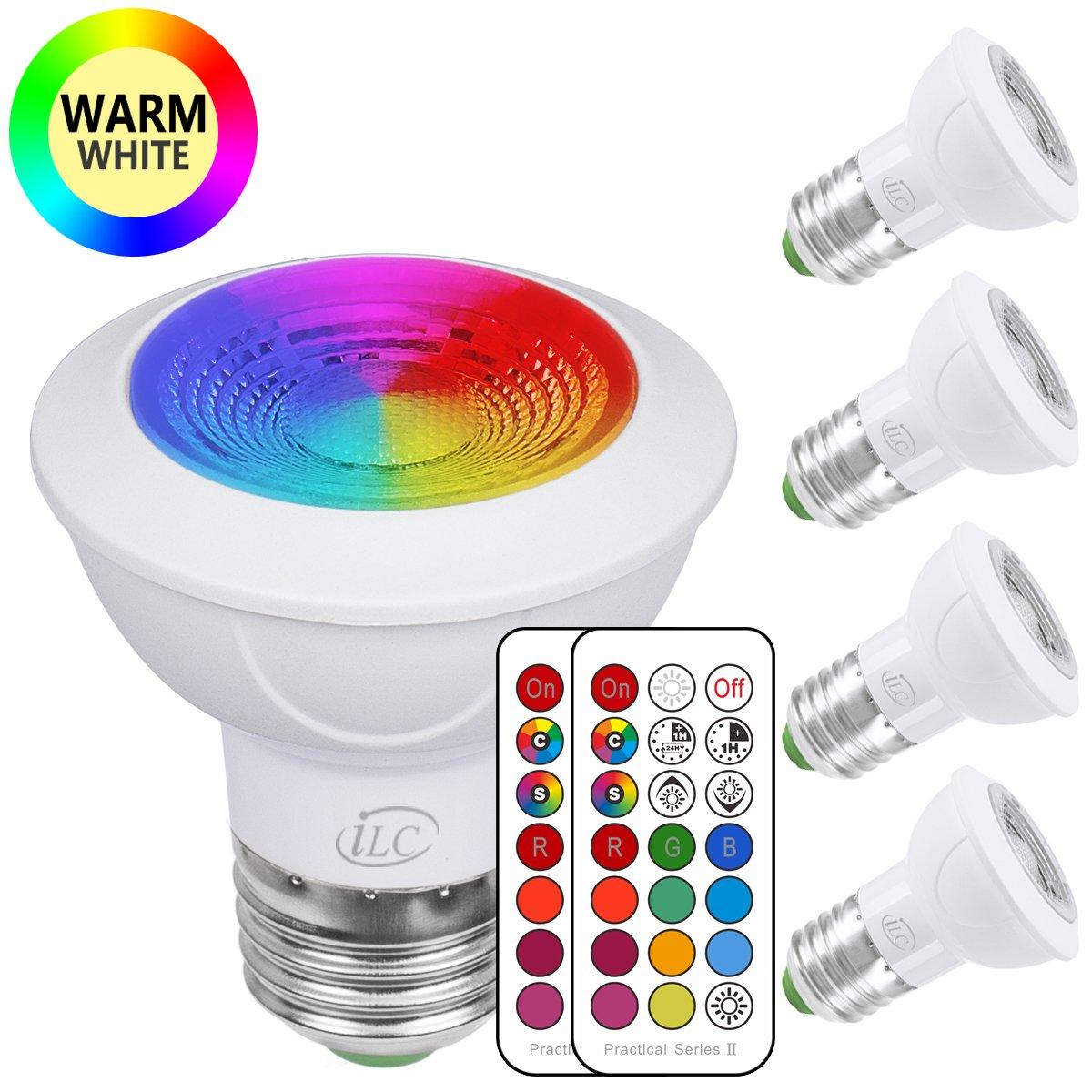 iLC Bombilla LED Foco Colores RGBW Bombillas spot Cambio de Color Blanco Cá lido 2700k Edison E27 Regulable Casquillo Gordo 45° á ngulo de Haz - RGB 12 Colore - Control remoto Incluido - Equivalente de 20 Watt (Pack de 4)