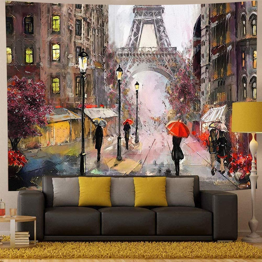 QCWN Oil Painting Paris Eiffel Tower Tapestry Wall Decor Abstract People Under Rain Paris City Street Eiffel Tower Art Design Wall Hanging Large Tapestry for Bedroom Living Room Dorm.Multi 91x58Inc
