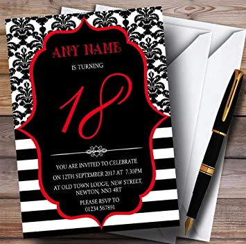 Vintage Damask Black /& White 70th Personalised Birthday Party Invitations