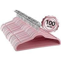 Elama Home ELH100PINK 100 Piece Set of Velvet Slim Profile Heavy Duty Felt Hangers with Stainless Steel Swivel Hooks in Pink