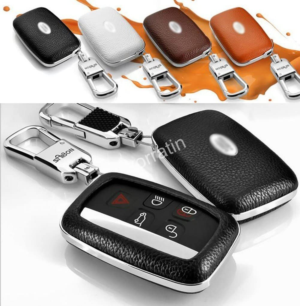 Luxury Real leather Key Case Cover with Chrome Chain for Land Rover LR2 LR4 Range Rover Discovery Vogue 1 set consisting of 1 Key Chain+ 1 cover