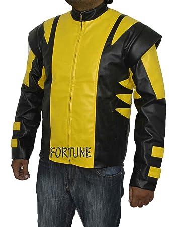 X-Men Wolverine yellow u0026 black costume Faux Leather Vintage Biker Jacket (CUSTOM SIZE  sc 1 st  Amazon UK & X-Men Wolverine yellow u0026 black costume Faux Leather Vintage Biker ...
