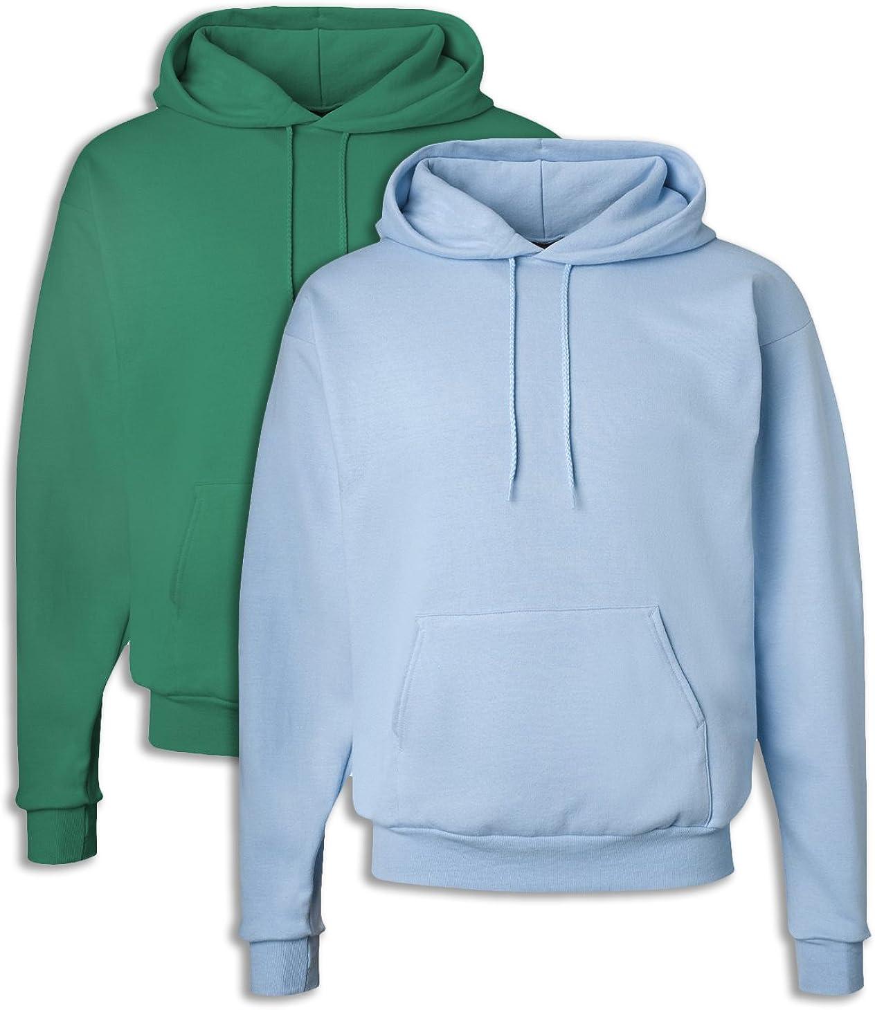 1 Purple Hanes P170 Mens EcoSmart Hooded Sweatshirt Large 1 Light Blue