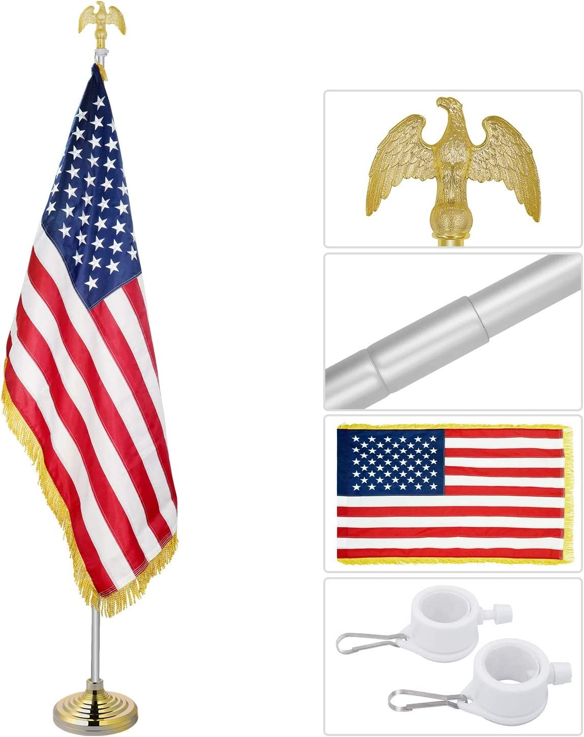 Jetlifee Indoor American Flag Pole Set - Telescopic 3.5-8 ft Aluminum Flagpole with Eagle Topper Ornament, Embroidered Stars, Sewn Stripes, Gold Fringe US Flag for Home Office Churches & Auditoriums