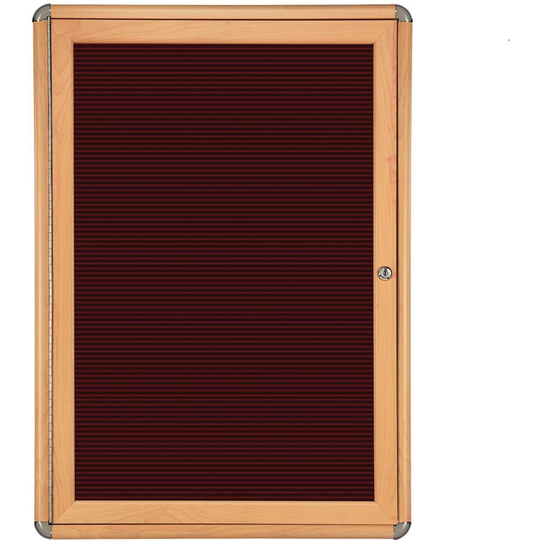 Ghent 1 Door Ovation Letter Board, Burgundy w/Maple Chrome Frame, 24-1/8''w x 33-3/4''H