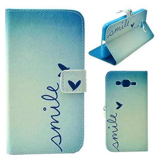 5 opinioni per HUANGTAOLI Protettiva Cuoio Portafoglio Flip Case Cover per Samsung Galaxy Grand