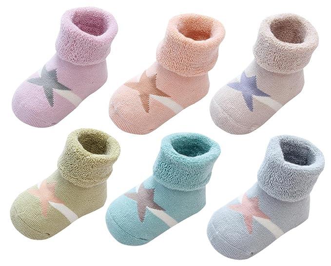 LIUCHENGHANG - Bebé Niñas Zapatos Antideslizantes Calentito Suave Estampado Estrella Pack de 6 Pares de Anti