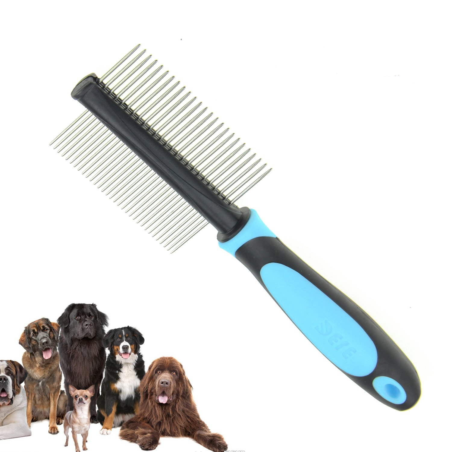 Pet Dog Long Hair Comb, Stainless Steel Teeth Anti Shedding Brush Grooming Tool for both Large Pets, Best Tool For Dogs-Long Hair