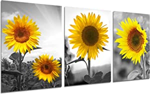 Sunflower Wall Art Canvas Painting - Nature Posters Yellow Sunshine Flower Landscape Picture Prints Bedroom Bathroom Living Room Wall Decor Rustic Home Office Decorations 12x16 inch Unframed