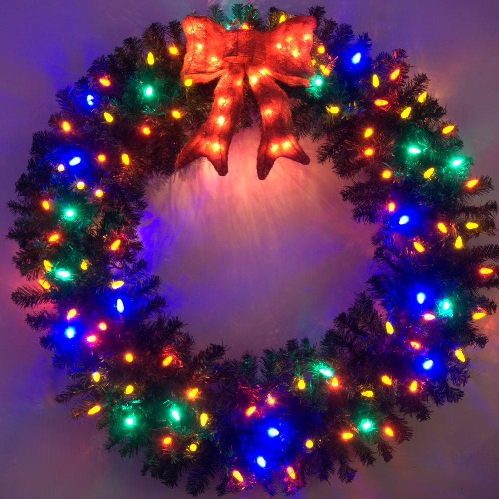 4 Foot Multi-Color L.E.D. Christmas Wreath
