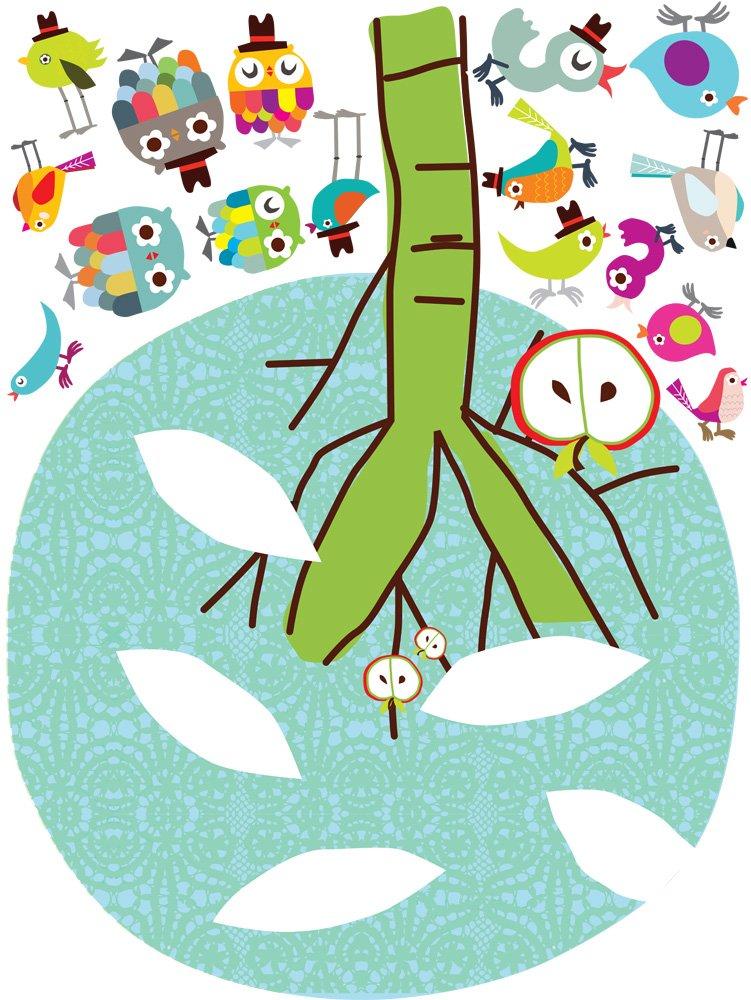Pop & Lolli Chirpie Tree, Chic Fabric Stickers