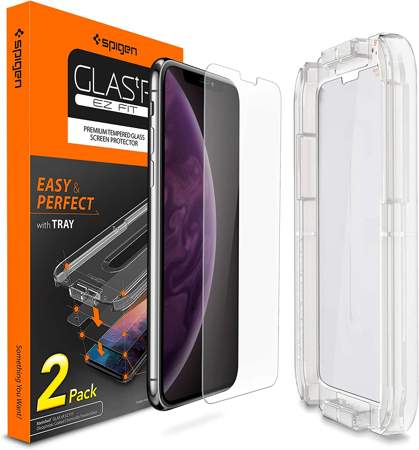 Spigen Tempered Glass Screen Protector [Installation Kit] designed for iPhone Xs Max (2 Pack) - Sensor Protection