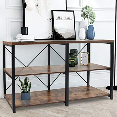 RUSTIC CONSOLE TABLE Bookcase Sofa Entryway Entry Accent Reclaimed Wood Kitchen Island Table Unique Shelving Shelf Custom Sizes Colors
