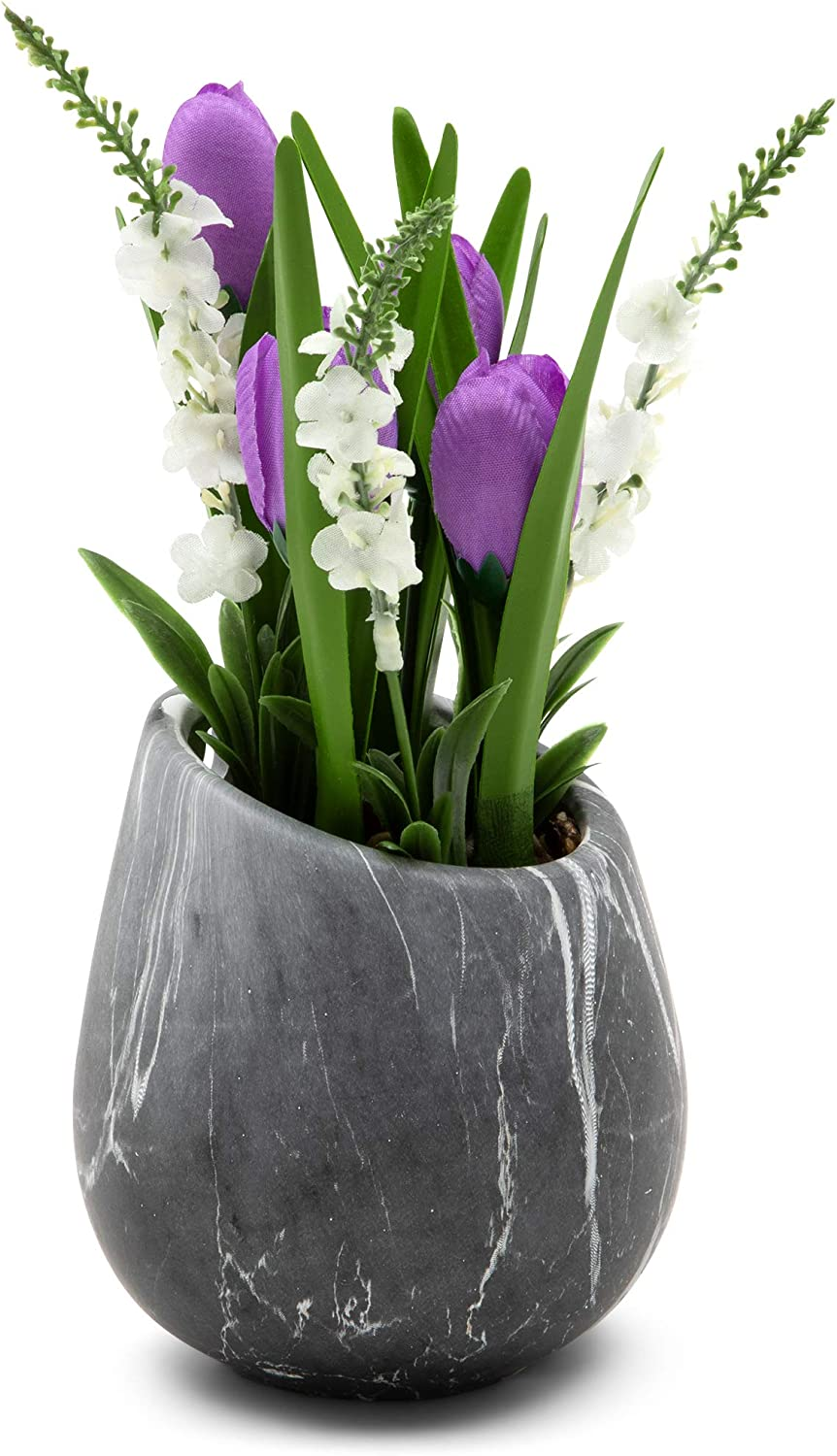 Mini Silk Tulips in Ceramic Pot with Marble Effect