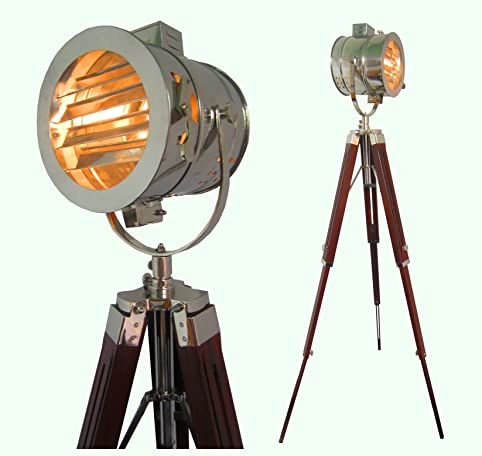 Hand Made Antique Floor Searchlight Spot Studio Tripod Floor Lamps ...
