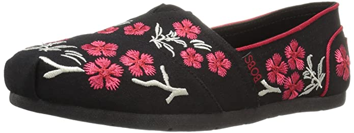 BOBS from Skechers Women's Luxe Cherry Blossom Flat, Black Cherry Blossom, 7.5 M US