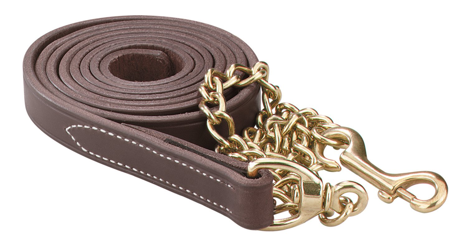 Perri's Leather Lead with 30-Inch Solid Brass Chain, Havana, 7-Feet 30-Inch