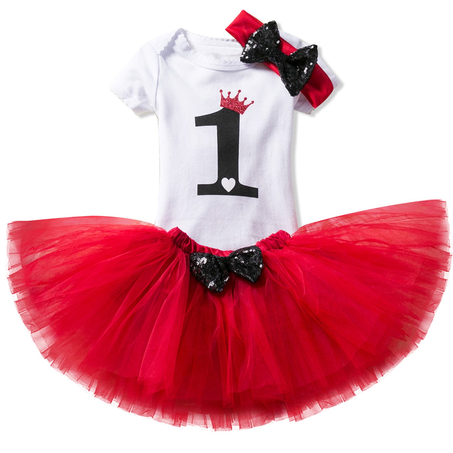 NNJXD Girl Shell Tutu 1st Birthday 3 Pcs Outfits Romper+ Dress + Black Headband Size (1) 1 Year Red